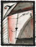"Painting by Barbara Stout: ""Frenchie of Montmartre"", SOLD, ink and watercolor on paper, 6"" by 8"""