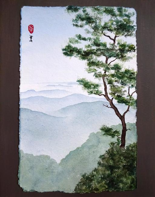 Watercolor by Barbara Stout called View from West Point, Mt Tamalpais